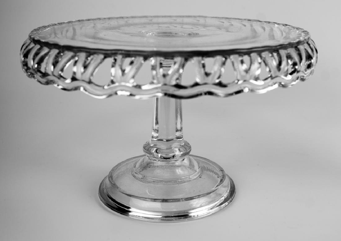 (2) PRESSED GLASS CAKE PLATTERS - 7