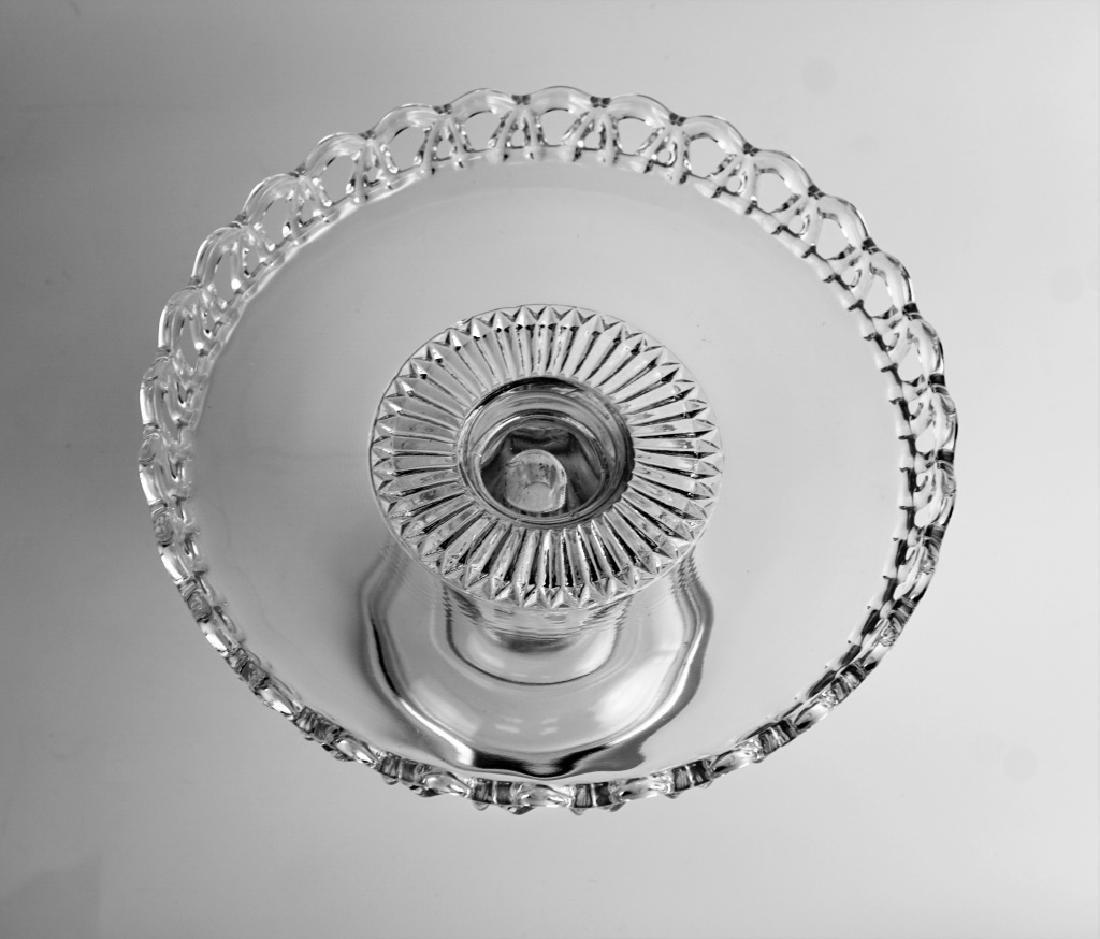 (2) PRESSED GLASS CAKE PLATTERS - 8