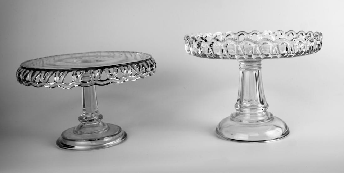 (2) PRESSED GLASS CAKE PLATTERS - 9