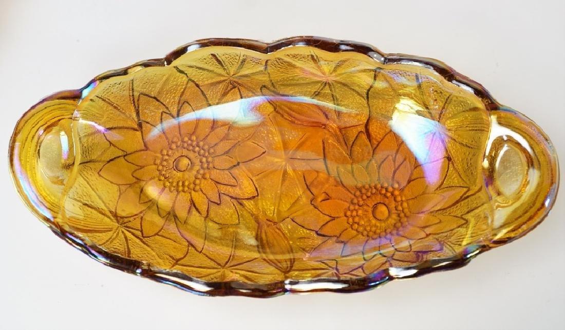 4pcs ASSORTED ORANGE CARNIVAL GLASS - 4