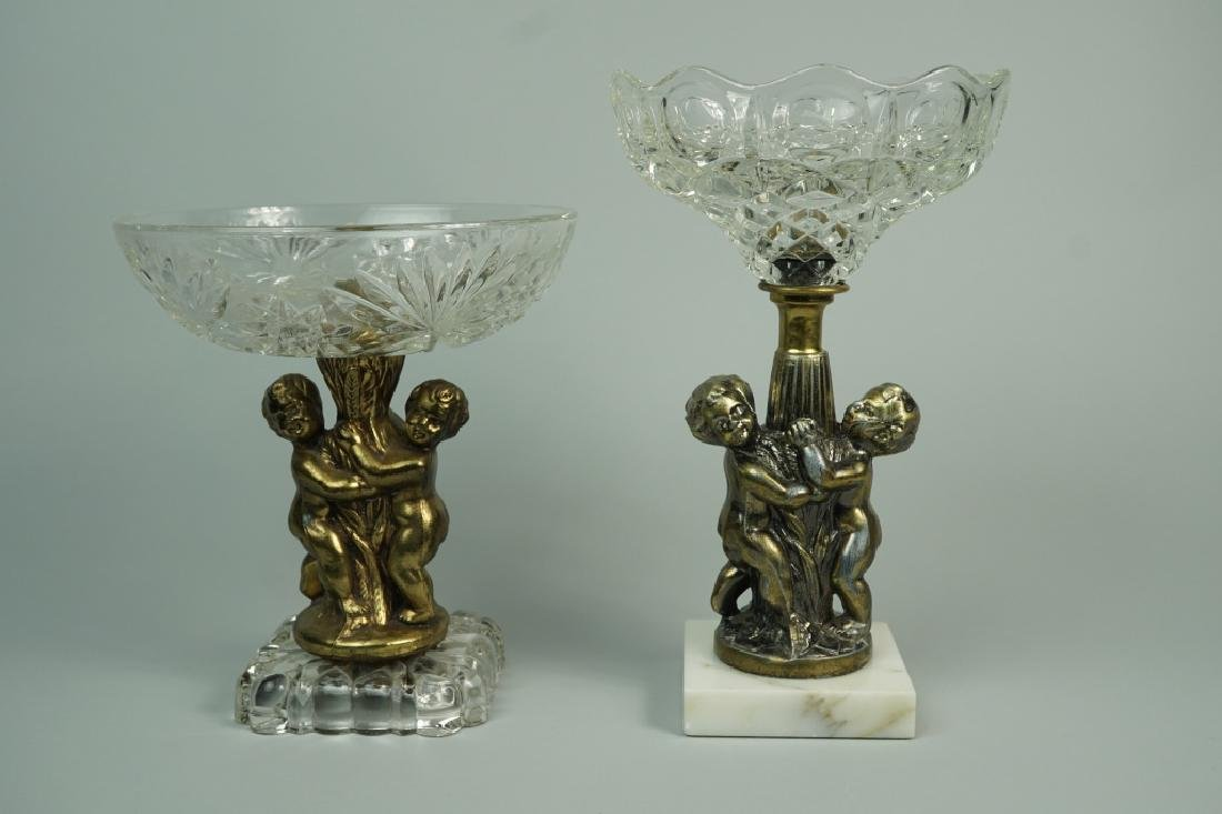 (2) CUT GLASS AND BRASS COMPOTES