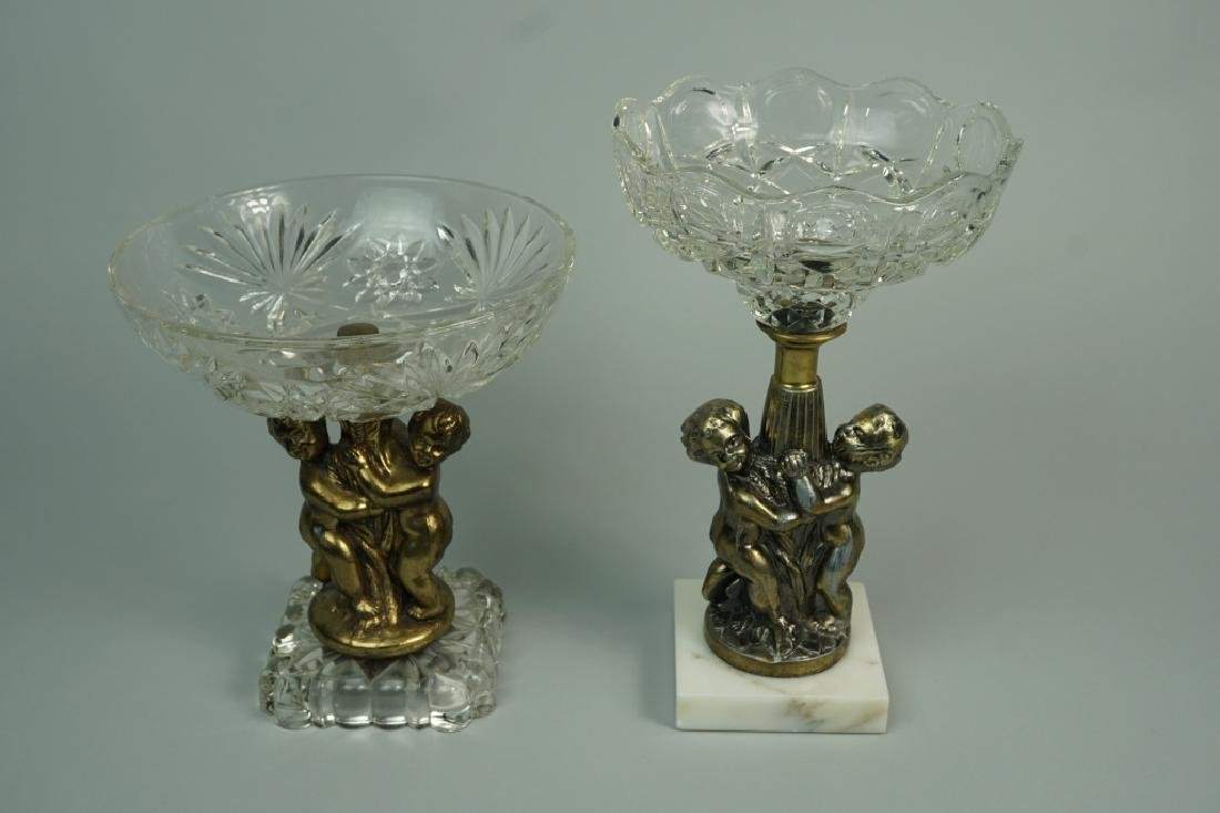 (2) CUT GLASS AND BRASS COMPOTES - 2