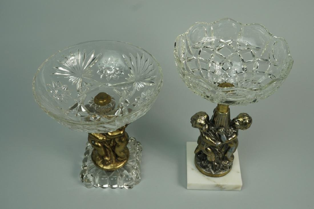(2) CUT GLASS AND BRASS COMPOTES - 3
