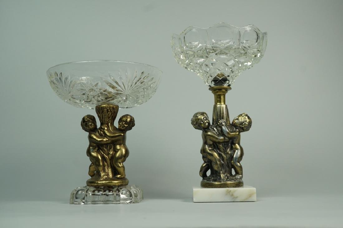 (2) CUT GLASS AND BRASS COMPOTES - 4