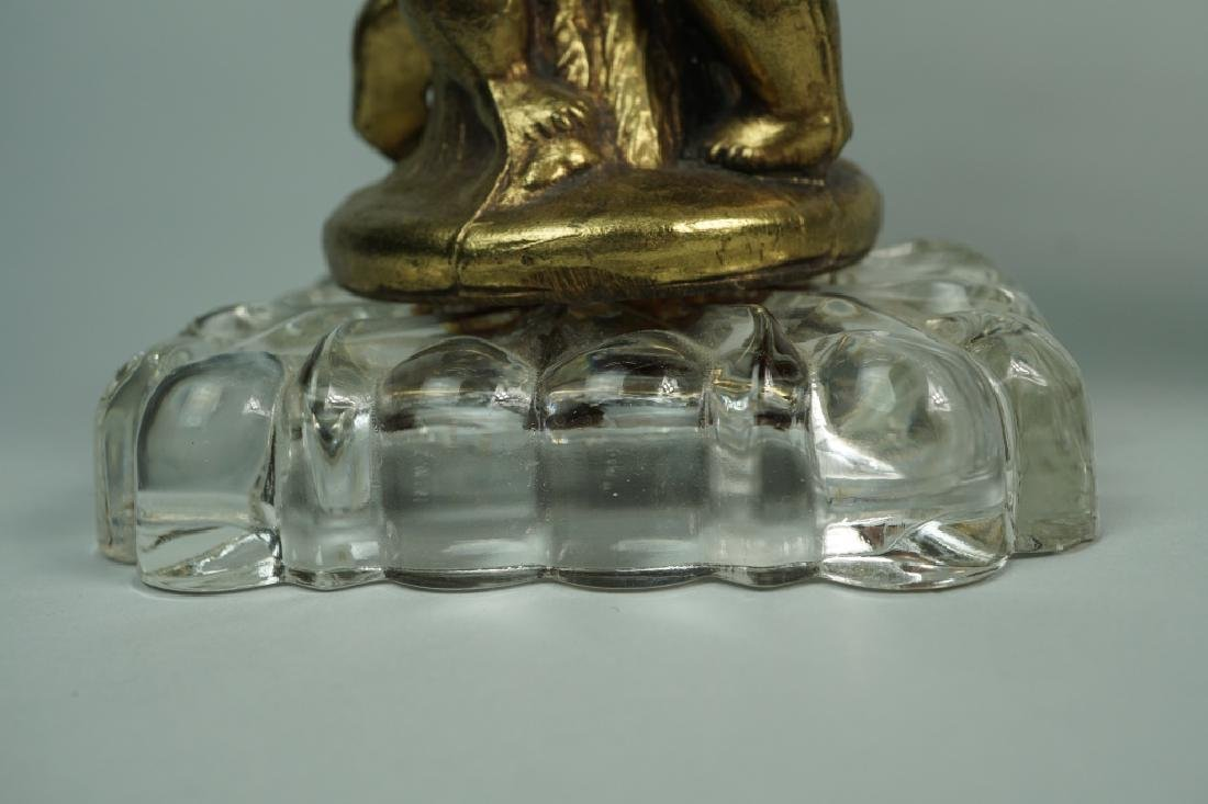 (2) CUT GLASS AND BRASS COMPOTES - 7