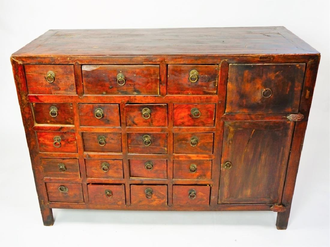 ANTIUQE 19 DRAWER APOTHECARY CABINET - 4