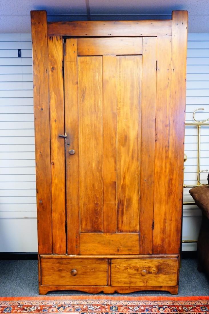 ANTIQUE PINE BLIND DOOR CUPBOARD - 3