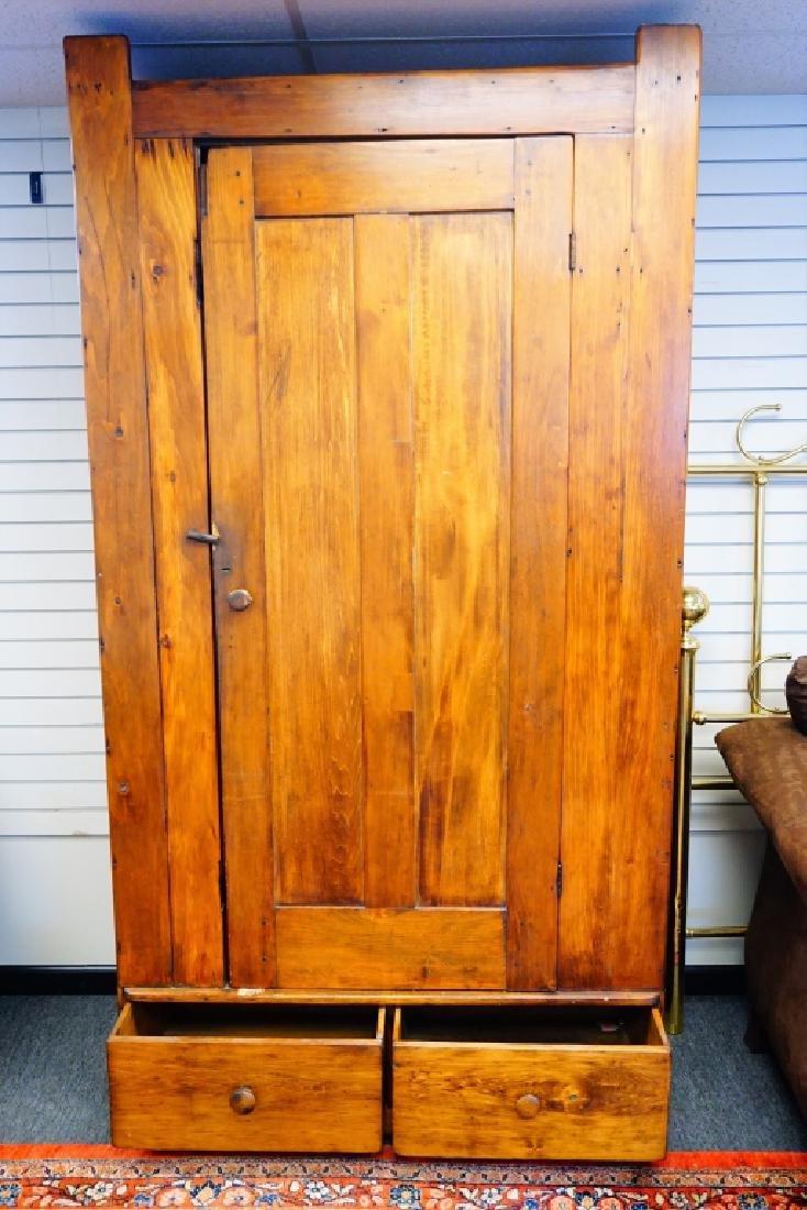 ANTIQUE PINE BLIND DOOR CUPBOARD - 4
