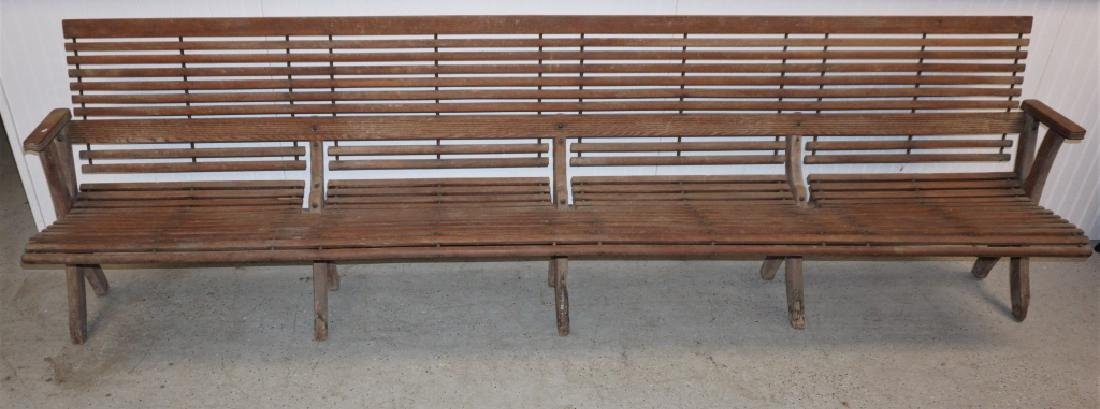 ANTIQUE FOLDING WOOD BUS STATION BENCH