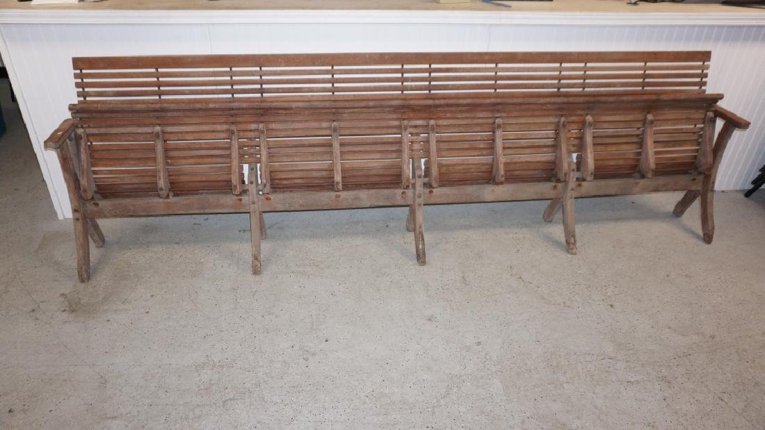ANTIQUE FOLDING WOOD BUS STATION BENCH - 2