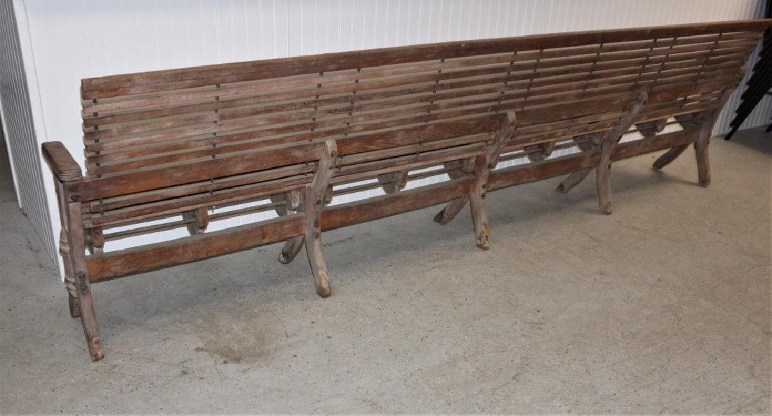 ANTIQUE FOLDING WOOD BUS STATION BENCH - 9