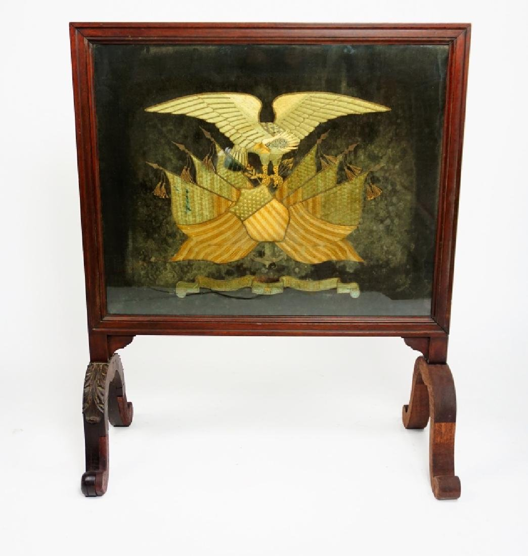 ANTIQUE PATRIOTIC EMBROIDERED FIRESCREEN - 2