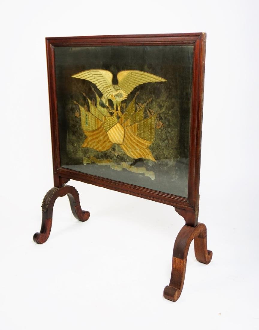 ANTIQUE PATRIOTIC EMBROIDERED FIRESCREEN - 3