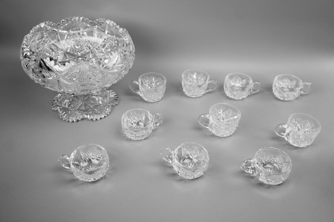 12pc CUT CRYSTAL PUNCH BOWL SET