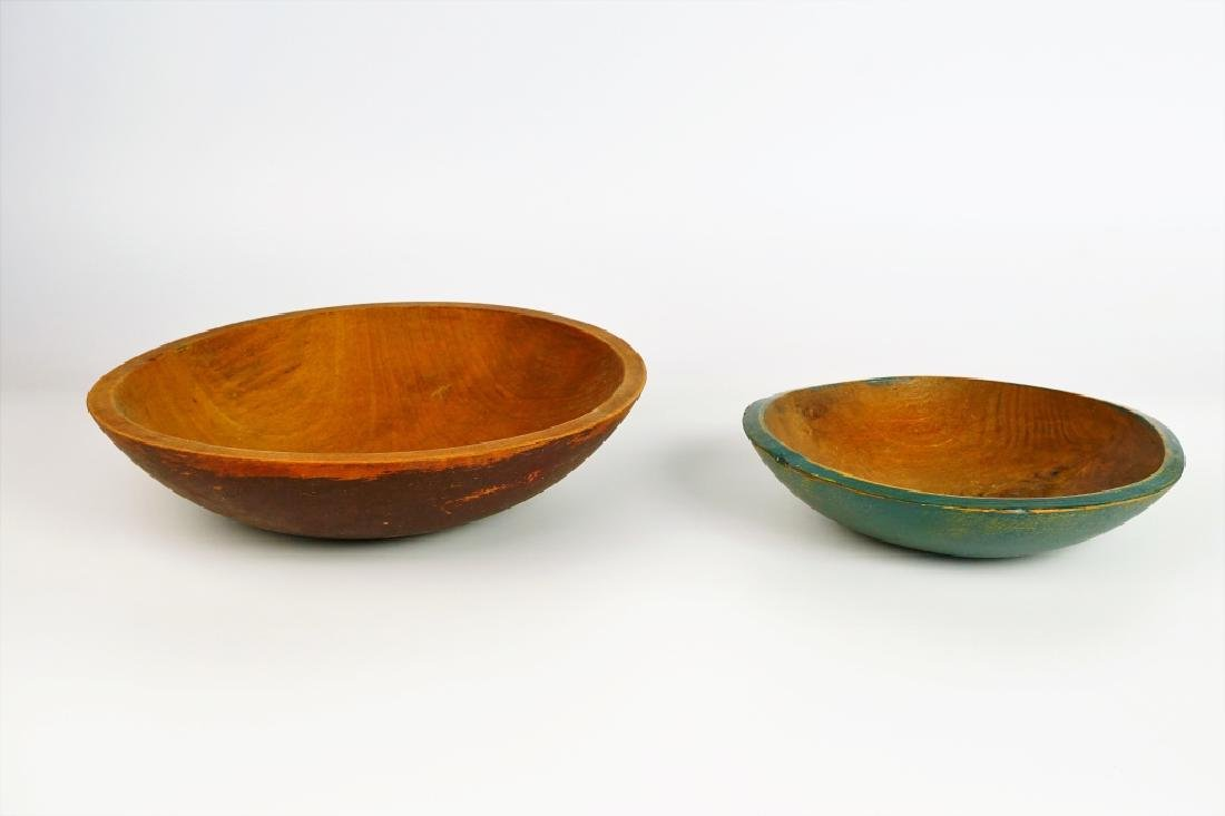 (2) PRIMITIVE WOODEN BOWLS