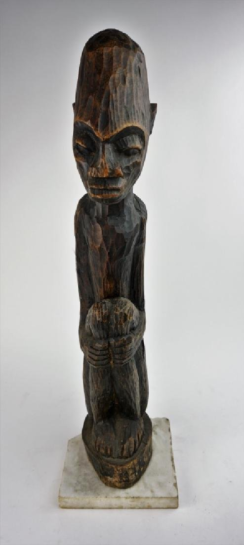 ANTIQUE CARVED WOOD AFRICAN STATUE - 2