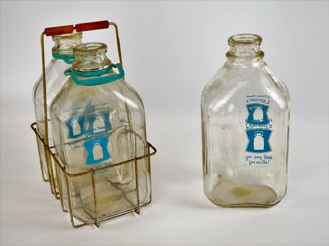 (3) LAWSON GLASS MILK BOTTLES