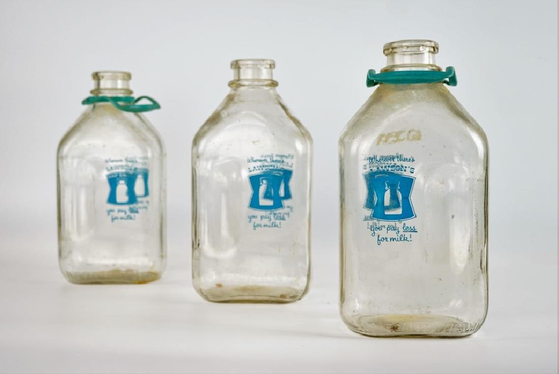 (3) LAWSON GLASS MILK BOTTLES - 2