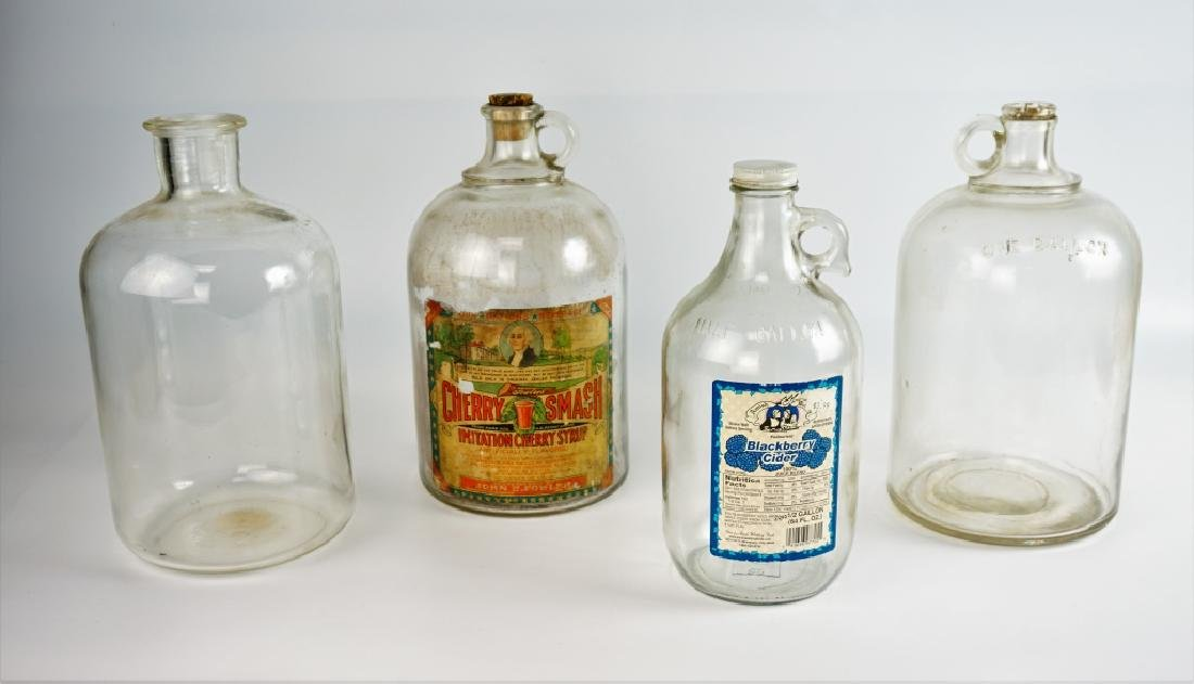 (4) VINTAGE GLASS JUGS