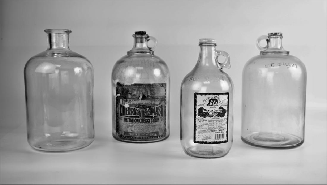 (4) VINTAGE GLASS JUGS - 3