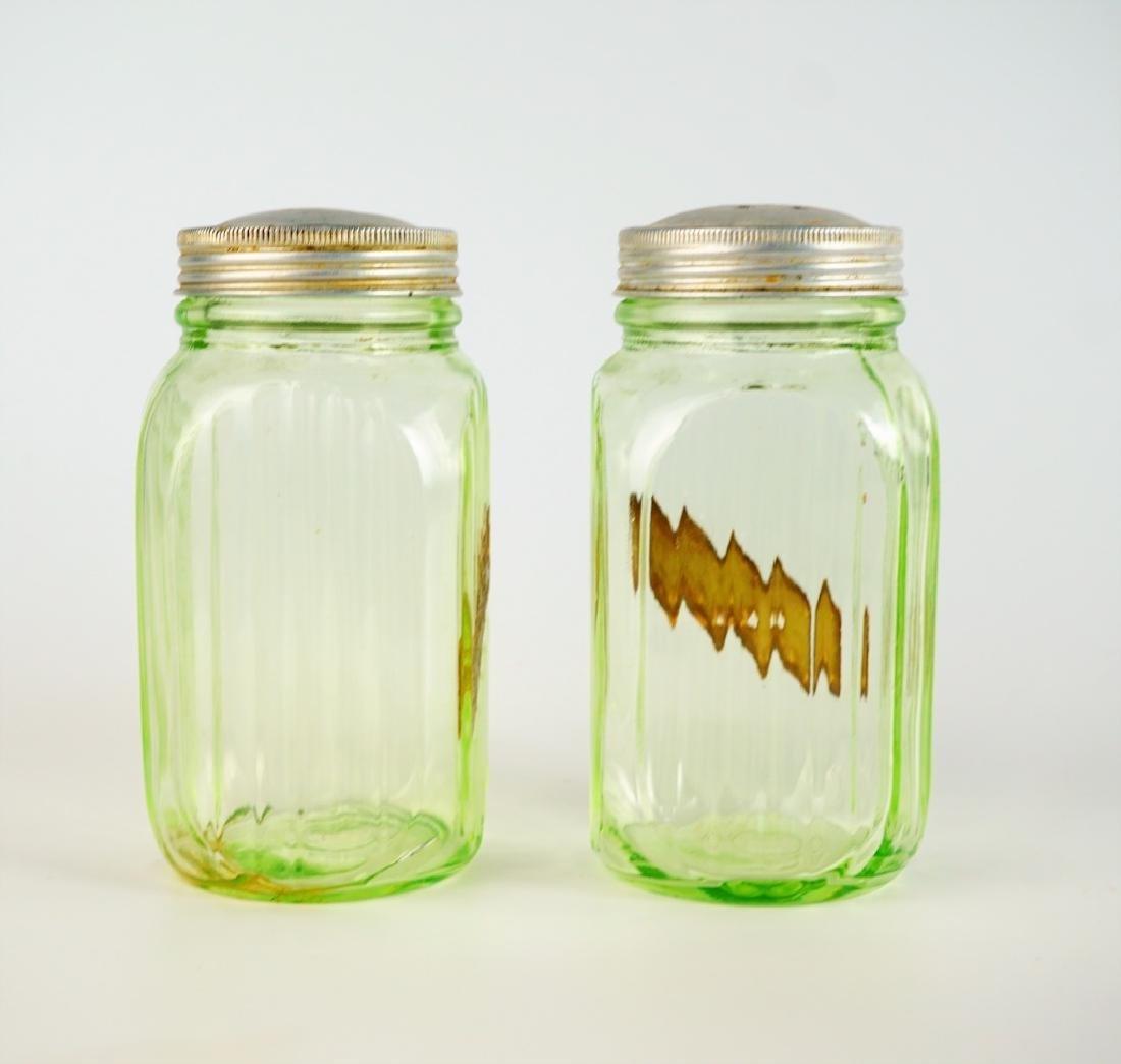 PAIR VINTAGE HOOSIER GLASS SALT & PEPPER SHAKERS