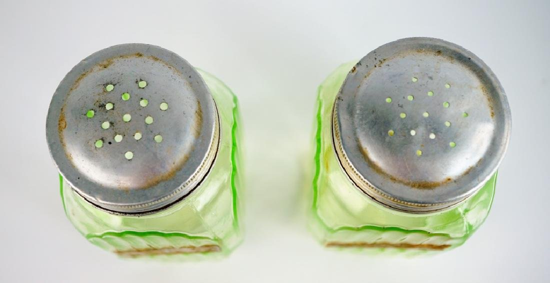 PAIR VINTAGE HOOSIER GLASS SALT & PEPPER SHAKERS - 6