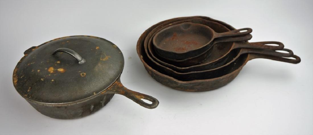 6pcs ASSORTED VINTAGE CAST IRON PANS