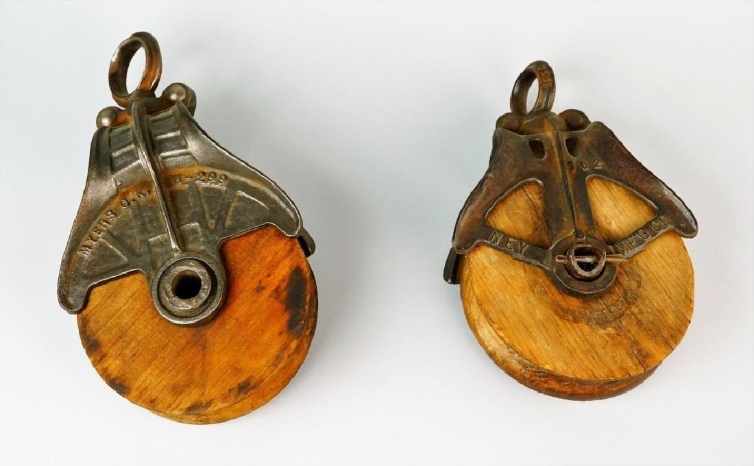 (2) VINTAGE CAST IRON & WOOD PULLEYS - 2