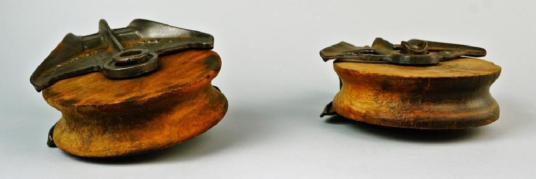 (2) VINTAGE CAST IRON & WOOD PULLEYS - 6