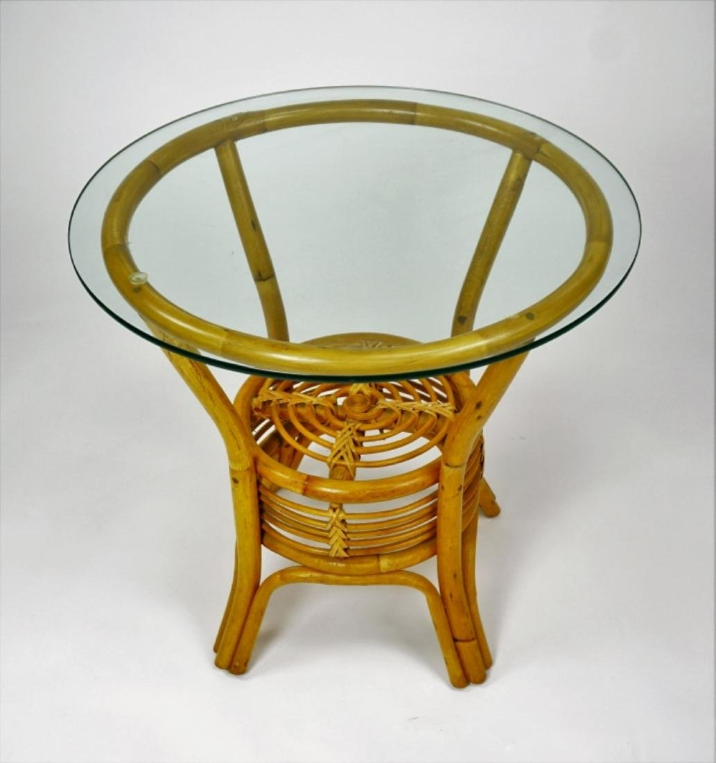 ROUND RATTAN END TABLE WITH GLASS TOP