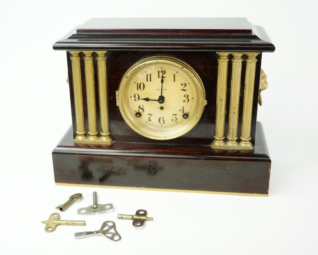 ANTIQUE SETH THOMAS ADAMANTINE MANTEL CLOCK