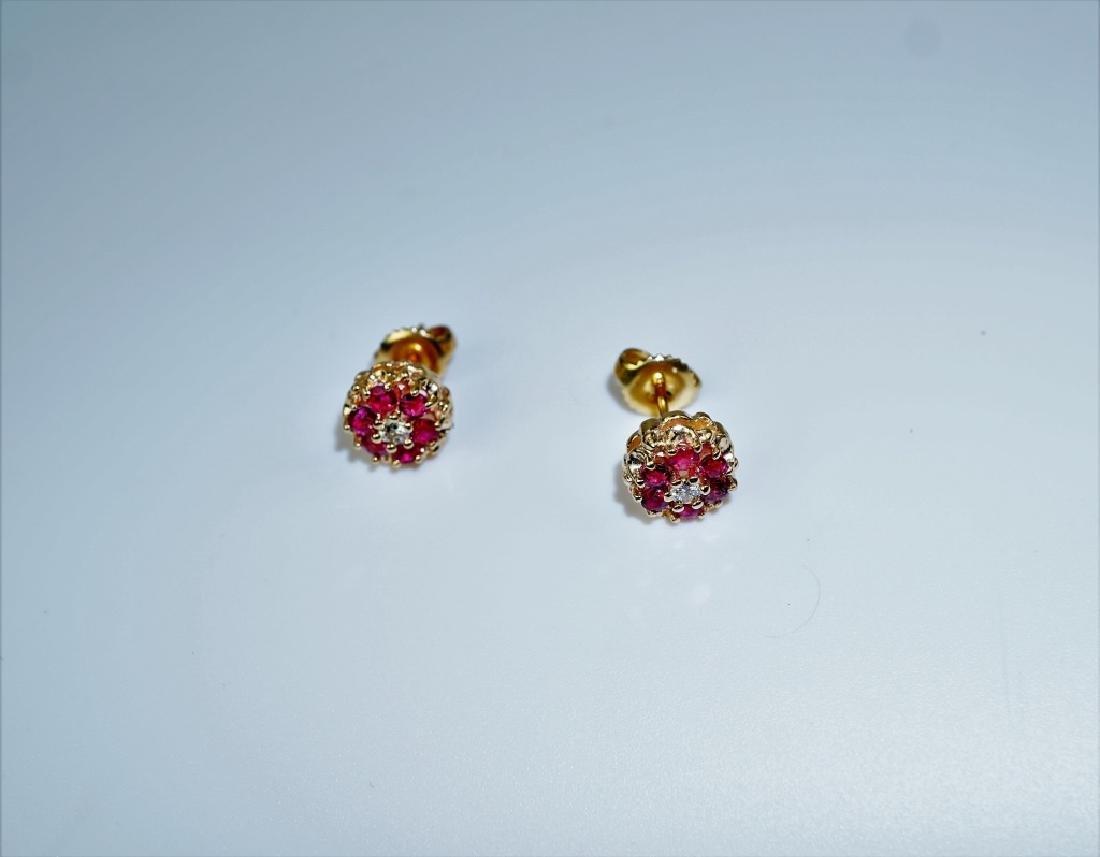 14K YELLOW GOLD RUBY & DIAMOND EARRINGS - 2