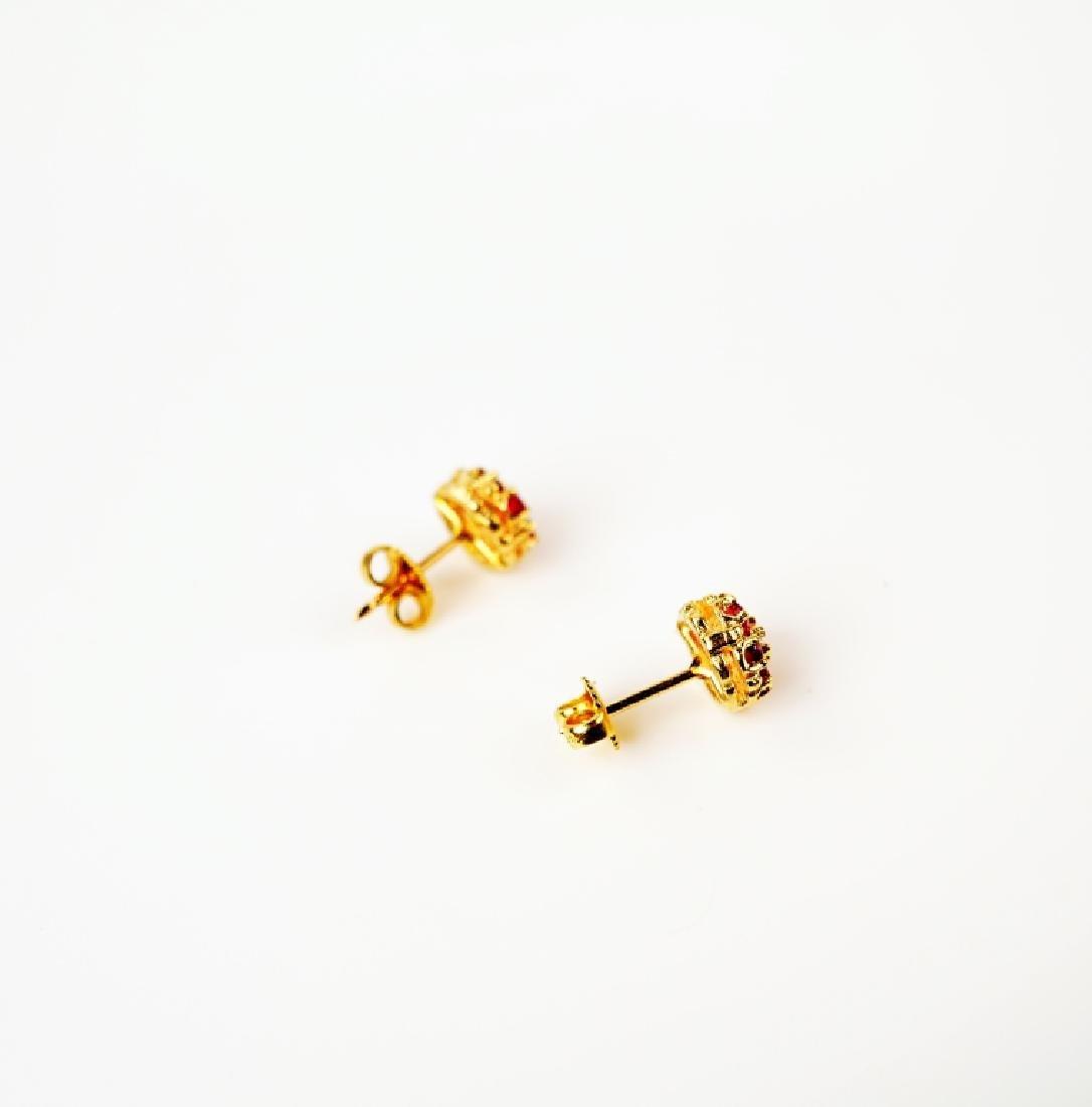 14K YELLOW GOLD RUBY & DIAMOND EARRINGS - 3
