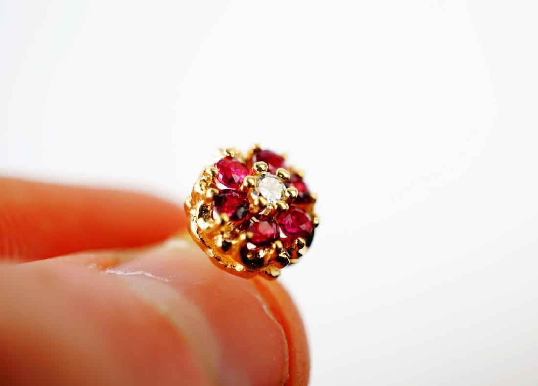 14K YELLOW GOLD RUBY & DIAMOND EARRINGS - 4