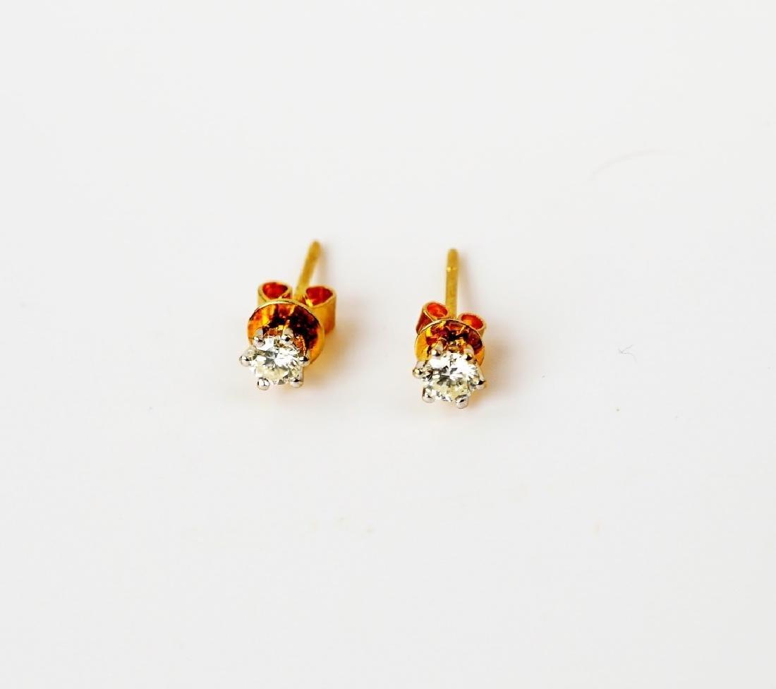PAIR 18K YELLOW GOLD & DIAMOND EARRINGS