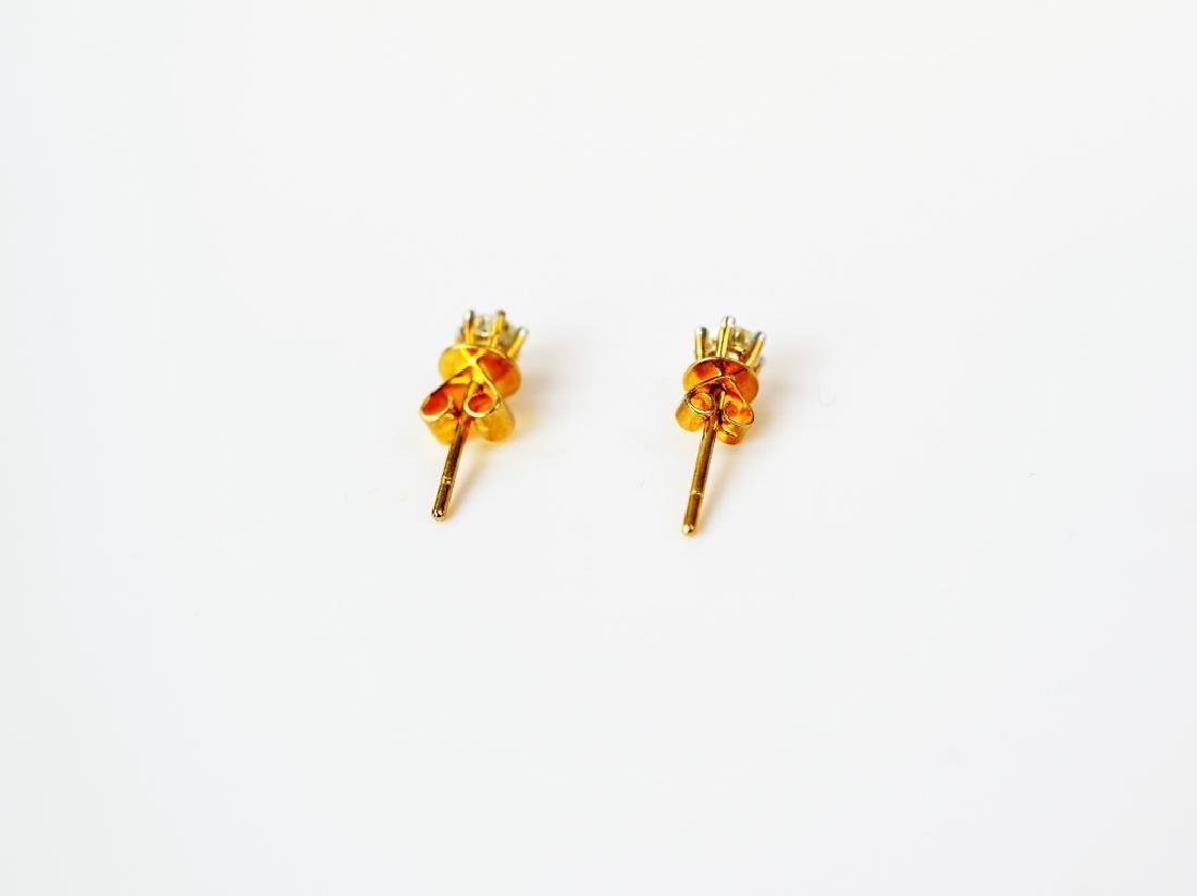 PAIR 18K YELLOW GOLD & DIAMOND EARRINGS - 4