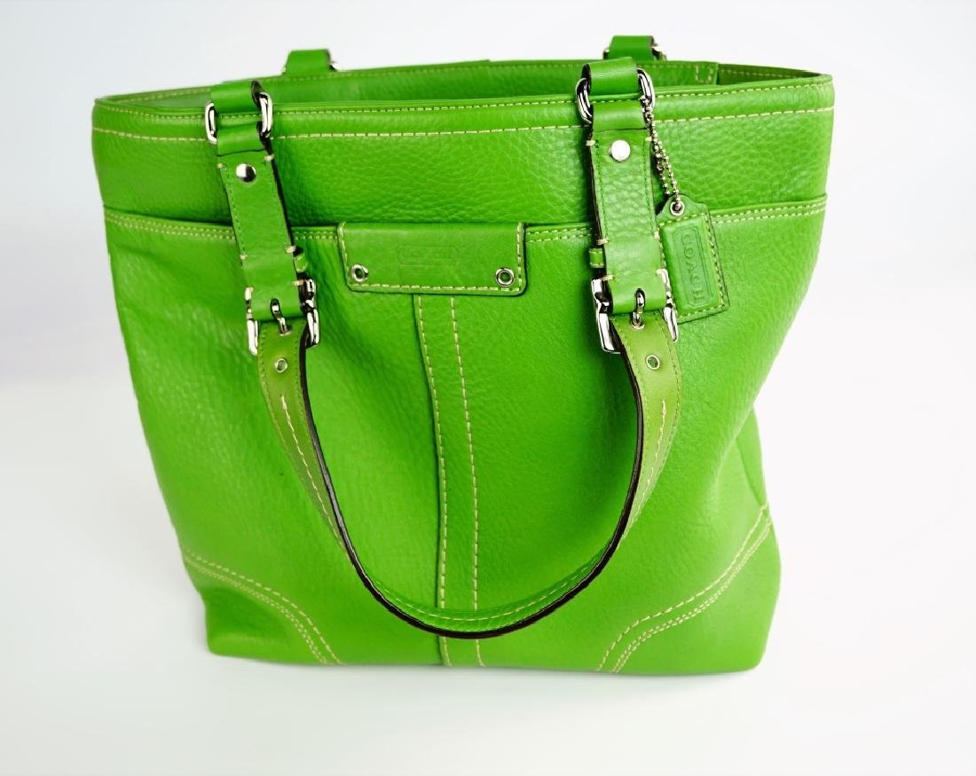 GREEN LEATHER COACH SHOULDER HANDBAG - 2