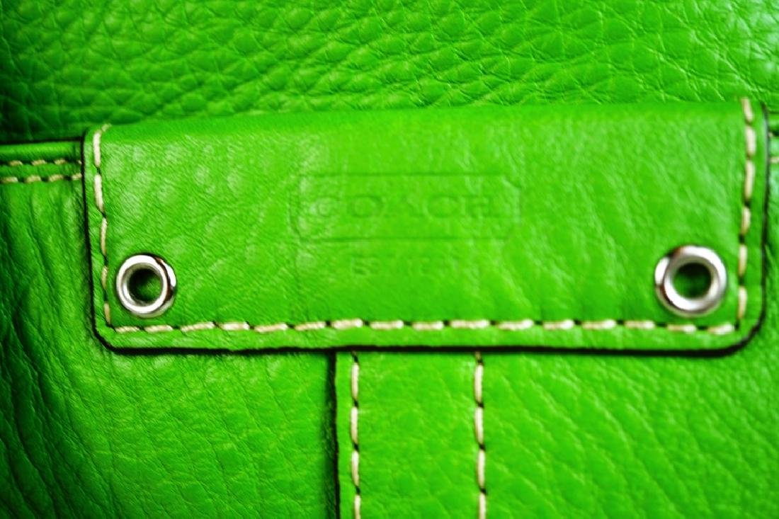 GREEN LEATHER COACH SHOULDER HANDBAG - 3