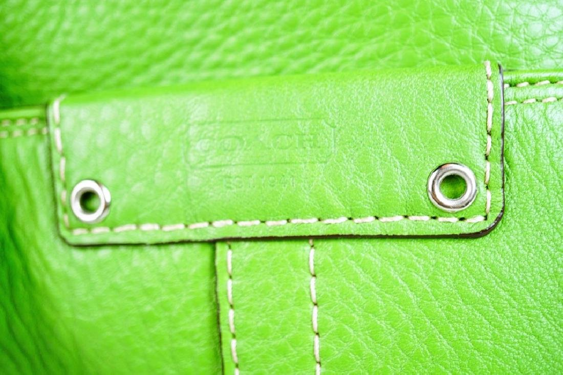 GREEN LEATHER COACH SHOULDER HANDBAG - 4