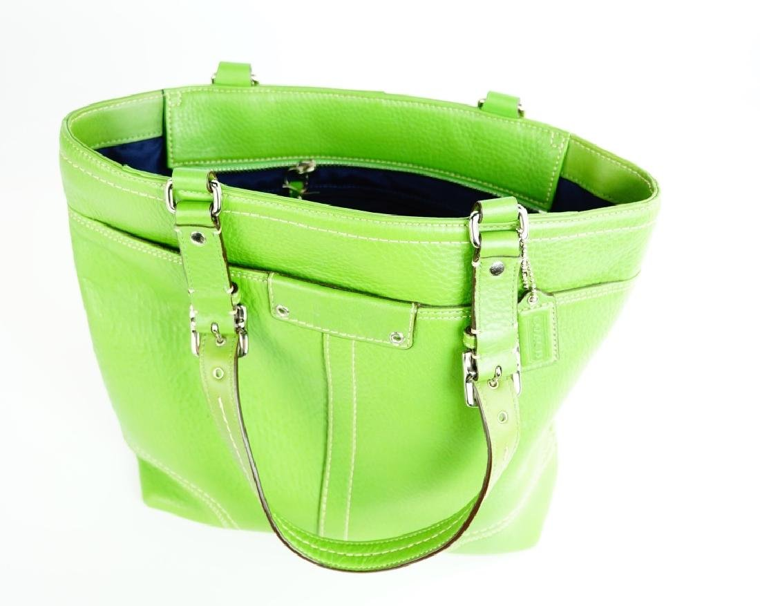GREEN LEATHER COACH SHOULDER HANDBAG - 5
