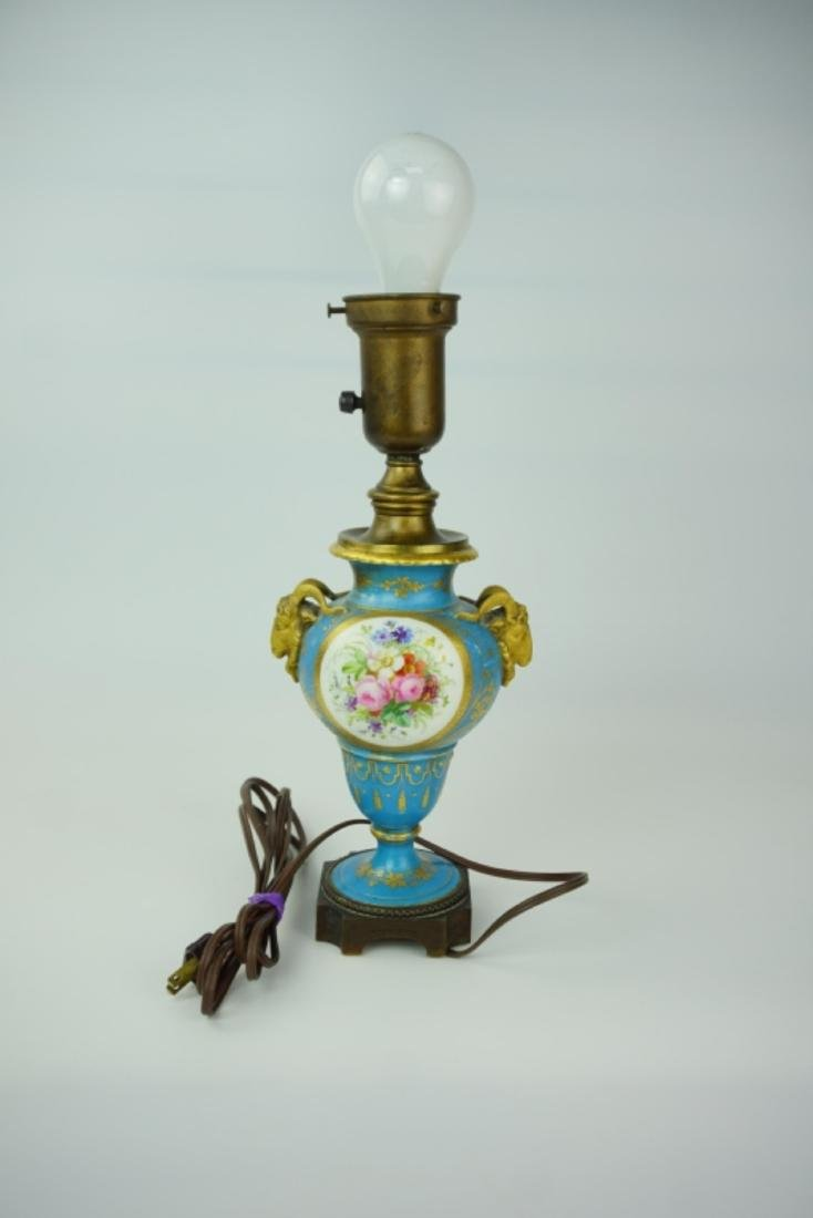 PORCELAIN VASE LAMP WITH MILK GLASS SHADE - 8