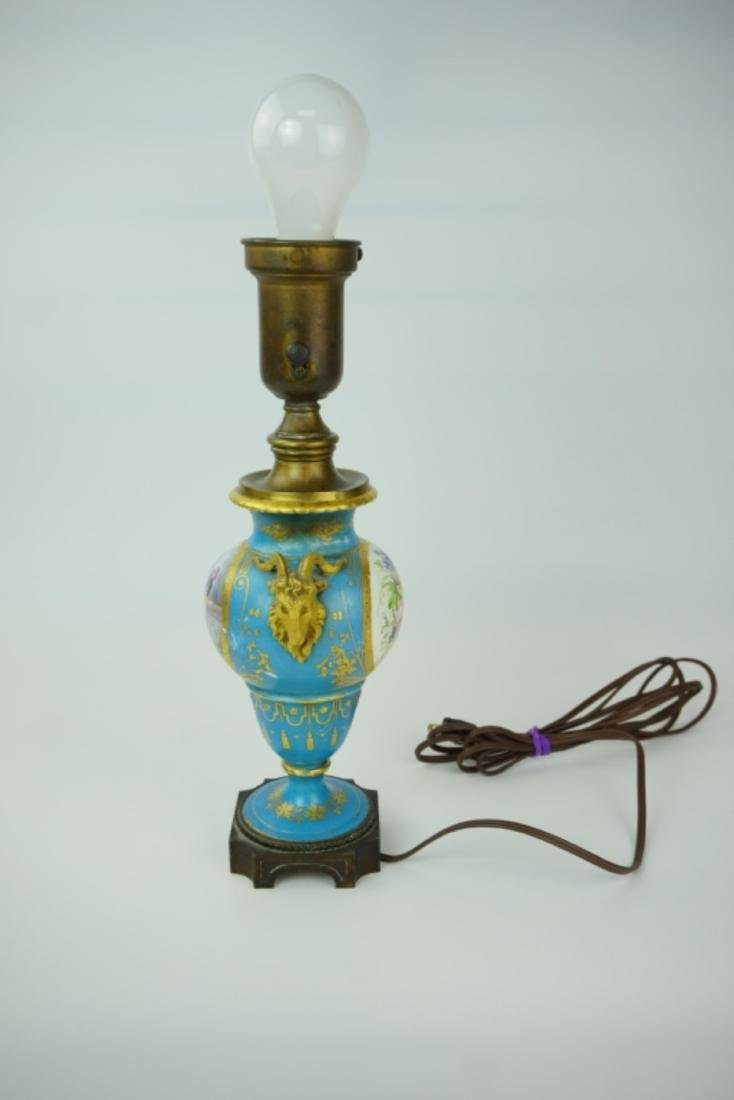 PORCELAIN VASE LAMP WITH MILK GLASS SHADE - 9