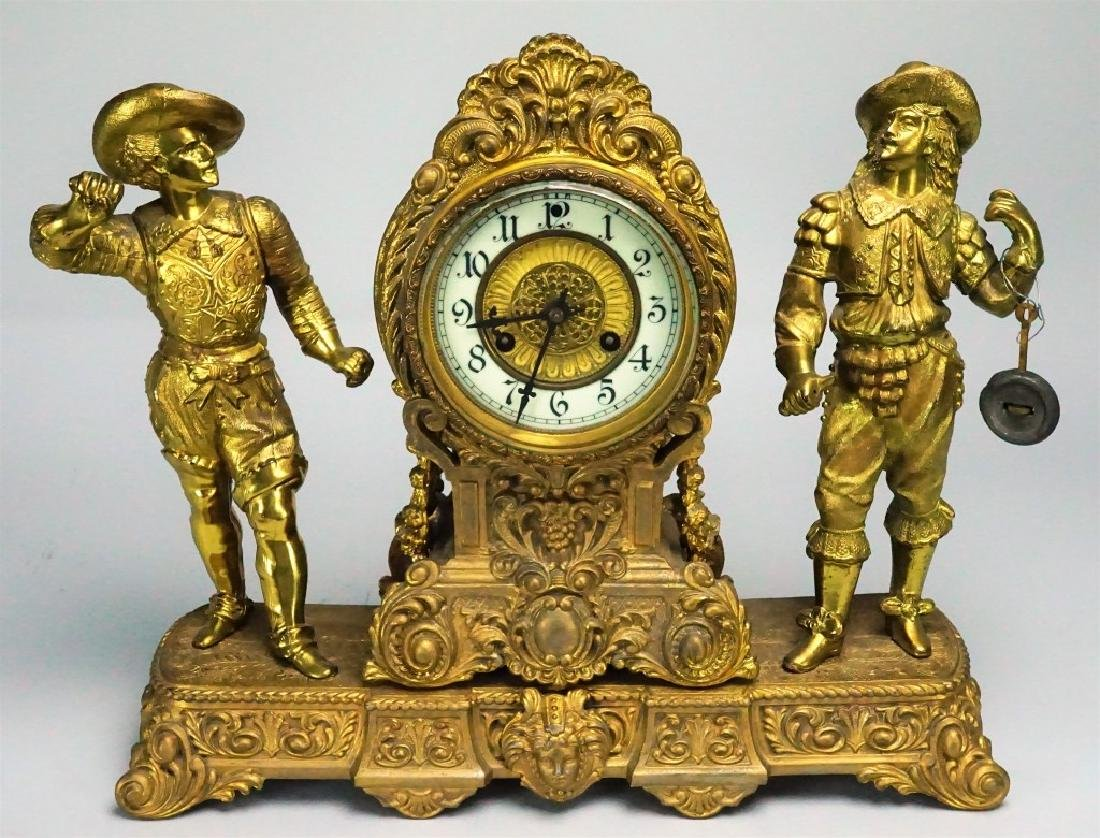 ANTIQUE WATERBURY FIGURAL MANTEL CLOCK