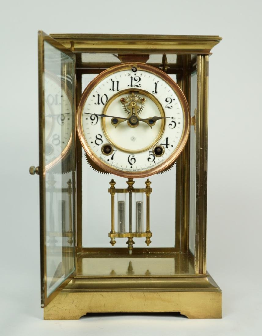 ANSONIA BRASS CRYSTAL REGULATOR CLOCK