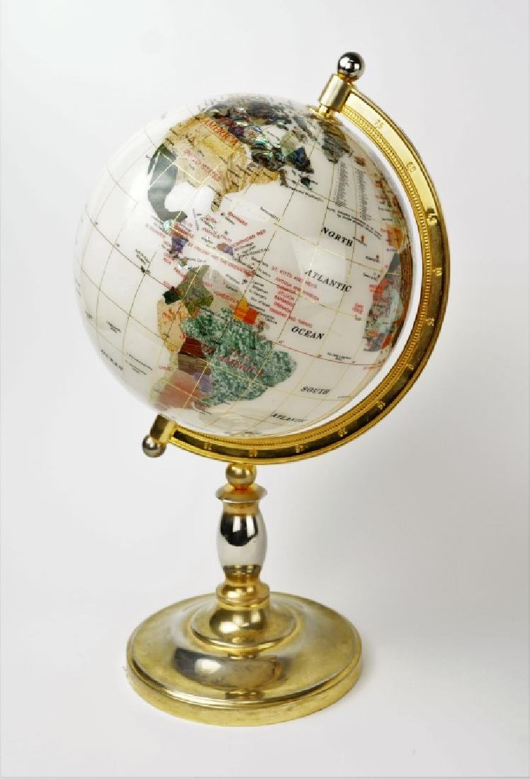 GEMSTONE GLOBE WITH MOTHER OF PEARL
