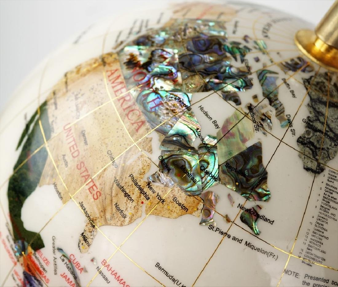 GEMSTONE GLOBE WITH MOTHER OF PEARL - 2
