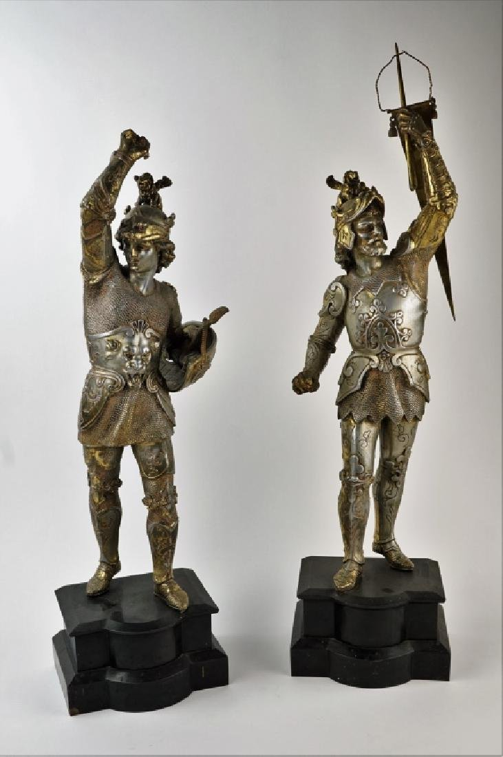 PAIR POT METAL EUROPEAN WARRIOR STATUES