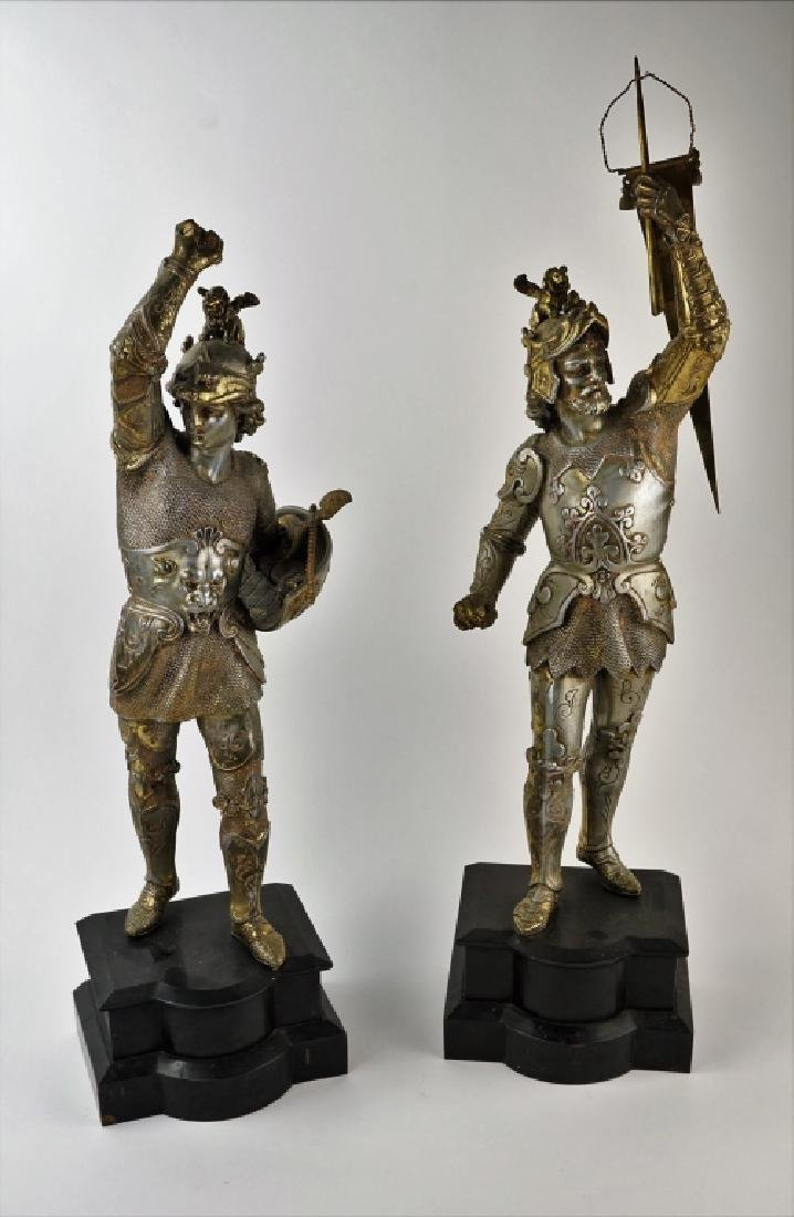 PAIR POT METAL EUROPEAN WARRIOR STATUES - 2