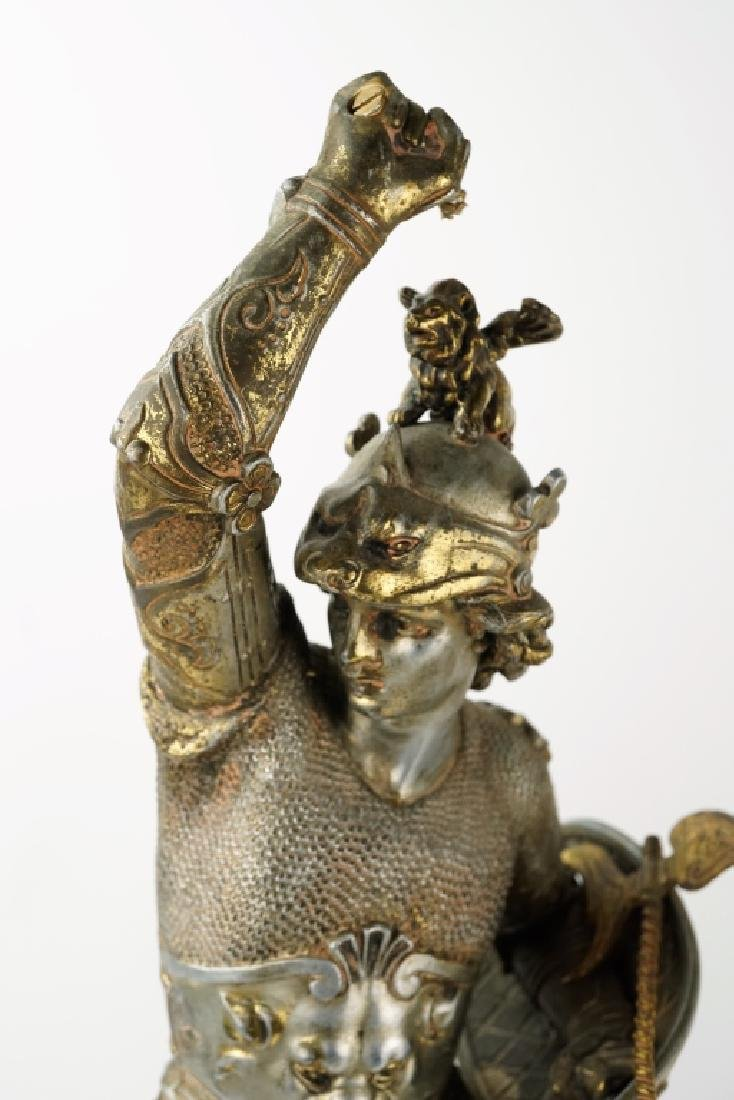 PAIR POT METAL EUROPEAN WARRIOR STATUES - 3