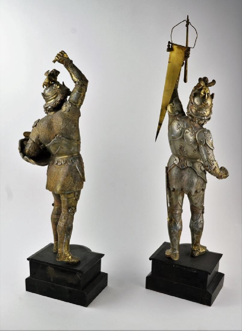 PAIR POT METAL EUROPEAN WARRIOR STATUES - 7